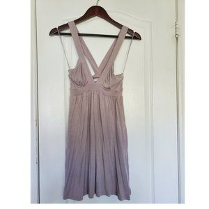 Aritzia | Talula Taupe VNeck Mini Dress w/Back Bow